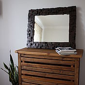 Зеркала ручной работы. Ярмарка Мастеров - ручная работа Зеркало лофт дерево WoodyMosaic/Brown. Handmade.