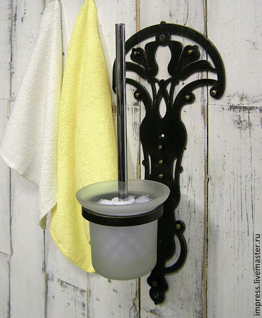 Ванная комната ручной работы. Ярмарка Мастеров - ручная работа. Купить Держатель для ершика Лилии. Handmade. Чёрно-белый, Ковка