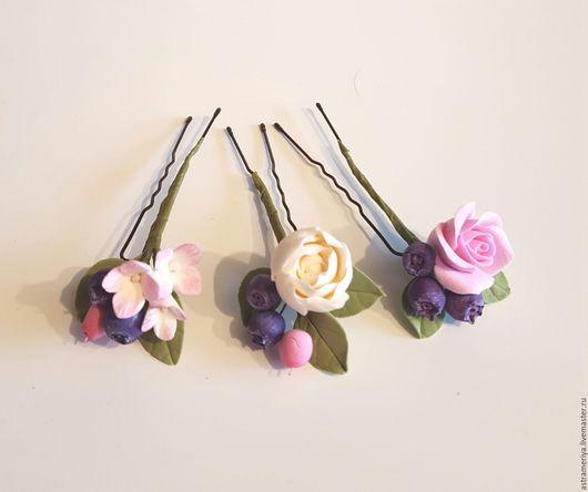 Свадебные украшения ручной работы. Ярмарка Мастеров - ручная работа. Купить Свадебные шпильки из полимерной глины цветы и ягоды. Handmade.