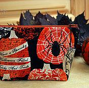 Сумки и аксессуары handmade. Livemaster - original item Halloween gift, Cosmetic bag Spider on the pumpkin. Handmade.