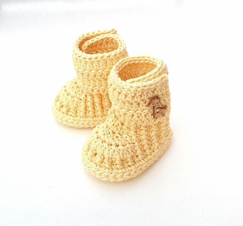 Пинетки носочки  Вязание спицами рукоделие