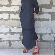 Одежда ручной работы. Ярмарка Мастеров - ручная работа Платье длинное платье макси платье в пол платье в полоску платье синее. Handmade.
