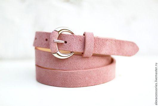 Пояса, ремни ручной работы. Ярмарка Мастеров - ручная работа. Купить Замшевый розовый ремень. Handmade. Ремень, стильный пояс