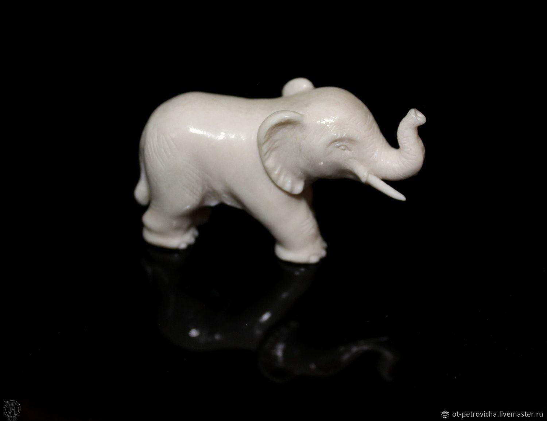 Elephant.Miniature.Carved bone(elk horn), Figurines, Kamen-na-Obi,  Фото №1