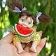 Коллекционные куклы ручной работы. Ярмарка Мастеров - ручная работа. Купить Тютелька Арбузя (7,5 см). Handmade. Салатовый