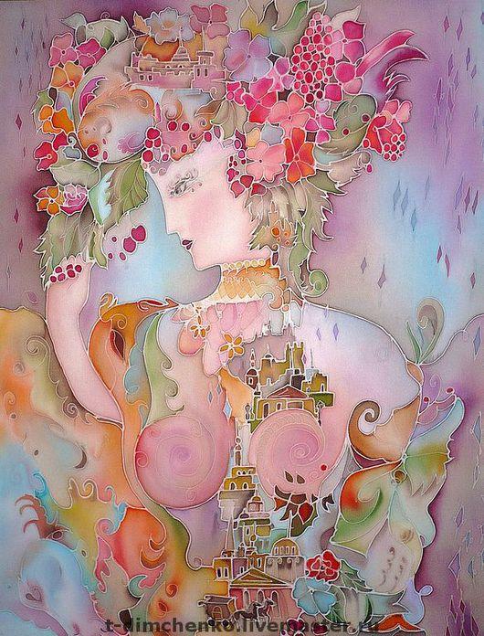 """Картины цветов ручной работы. Ярмарка Мастеров - ручная работа. Купить Картина на атласе """"Незнакомка"""". Handmade. Картина, женщина, роспись"""