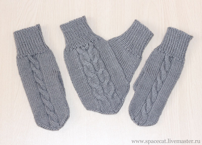 3 PCs. Mittens for lovers Lovebirds knitted gray, Mittens, Orenburg,  Фото №1