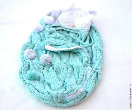 Для новорожденных, ручной работы. Ярмарка Мастеров - ручная работа. Купить Комплект на выписку для новорожденного  БУЗИНА-кокон + шапочка. Handmade.