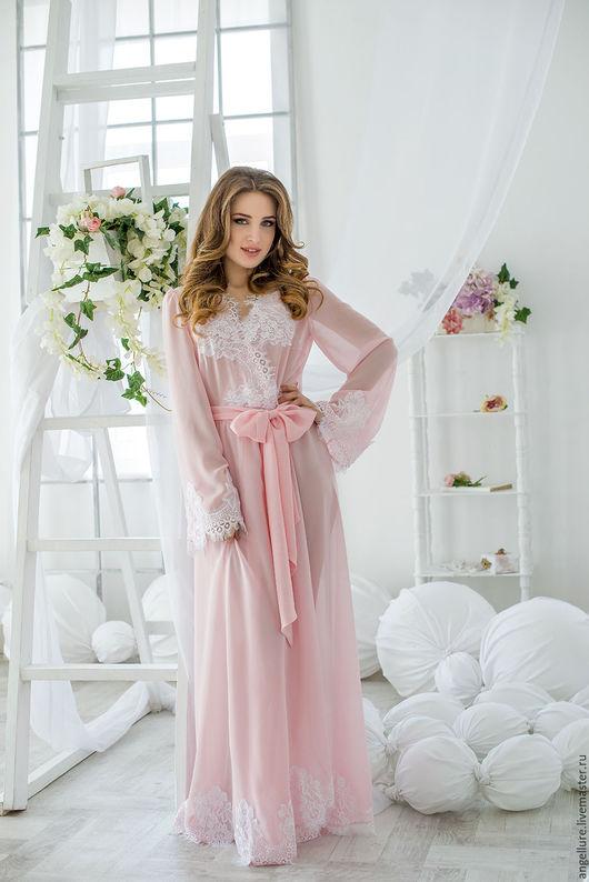 Халаты ручной работы. Ярмарка Мастеров - ручная работа. Купить Шифоновый халат розового цвета с кружевом Angela 1621R. Handmade.
