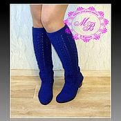 Обувь ручной работы handmade. Livemaster - original item Autumn boots Areona - color: ultramarine. Boots knitted.. Handmade.
