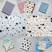 Материалы для творчества handmade. Livemaster - original item Satin China cotton blue stars on white. Handmade.