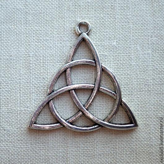 Подвеска для кулона, браслета или серег кельтский узел Трикветра. Цвет подвески - античное серебро. Размер подвески 3х3 см