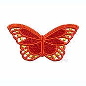 Материалы для творчества handmade. Livemaster - original item Embroidery applique orange butterfly lace openwork FSL free. Handmade.