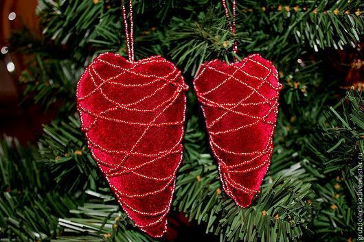 Новый год 2017 ручной работы. Ярмарка Мастеров - ручная работа. Купить Сердечки. Handmade. Бордовый, новогодний сувенир, бархат, бархат