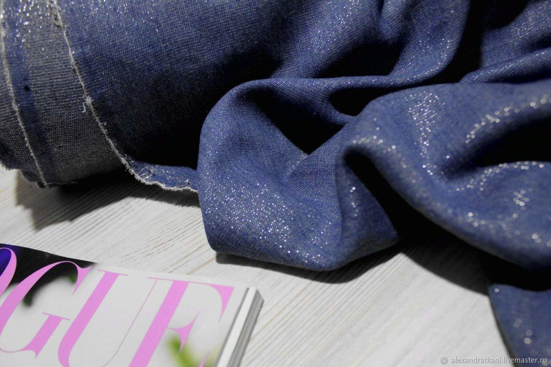 Лен с люрексом Цвет :  синий деним, Ткани, Ростов-на-Дону,  Фото №1
