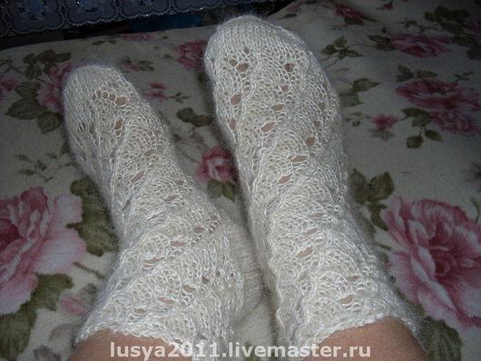 Носки, Чулки ручной работы. Ярмарка Мастеров - ручная работа. Купить Ажурные носочки из белого козьего пуха. Handmade. Носки