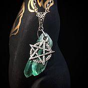"""Фен-шуй и эзотерика ручной работы. Ярмарка Мастеров - ручная работа Амулет """"Мистический кристалл"""" , с пентаграммой и зелёным флюоритом. Handmade."""