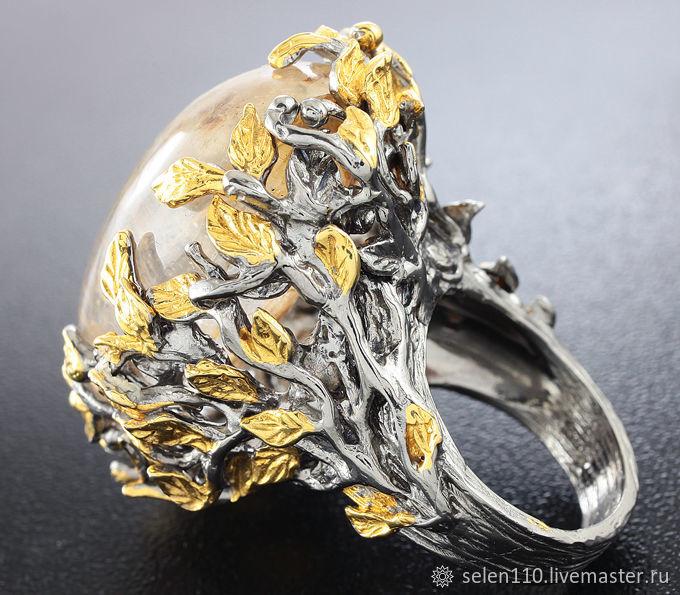 Ring 'Golden leaves' with Aquarian quartz (lodolite), Rings, Voronezh,  Фото №1