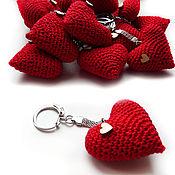 Сумки и аксессуары handmade. Livemaster - original item Keychain 5 cm Knitted heart red. Handmade.