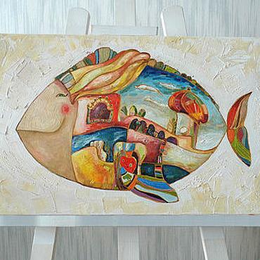 """Картины и панно ручной работы. Ярмарка Мастеров - ручная работа картина маслом """"Рыба город"""". Handmade."""