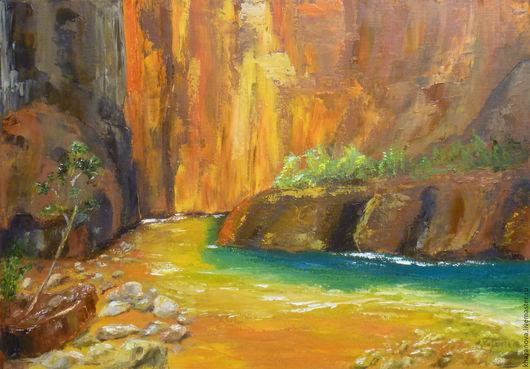 """Пейзаж ручной работы. Ярмарка Мастеров - ручная работа. Купить """"В сердце каньона"""" (холст/масло). Handmade. Оранжевый, река, масло"""