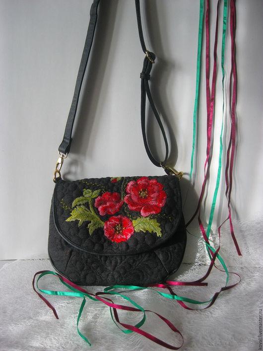 Женские сумки ручной работы. Ярмарка Мастеров - ручная работа. Купить Маков цвет Сумка вышитая. Handmade. Комбинированный, поролон