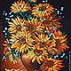 Картины цветов ручной работы. Подсолнухи. Oxana. Интернет-магазин Ярмарка Мастеров. Черная канва, картина для интерьера