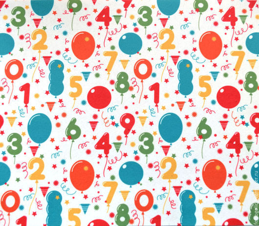 """Валяние ручной работы. Ярмарка Мастеров - ручная работа. Купить Фетр с принтом """"Воздушные шары и цифры"""" (2 размера). Handmade."""