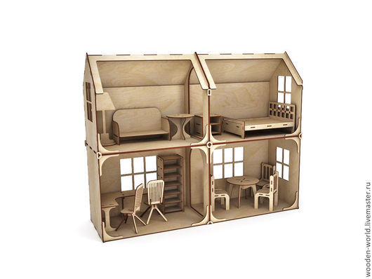 Декупаж и роспись ручной работы. Ярмарка Мастеров - ручная работа. Купить Модульный Кукольный домик 2 этажа 4 комнаты (без мебели). Handmade.