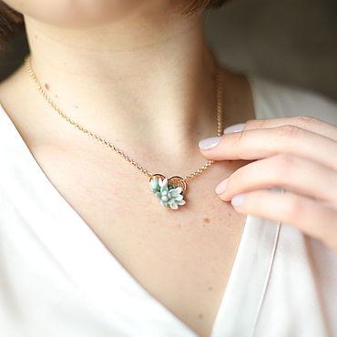 Decorations handmade. Livemaster - original item Short pendant heart with succulents on a rhodium-plated chain 40 cm. Handmade.