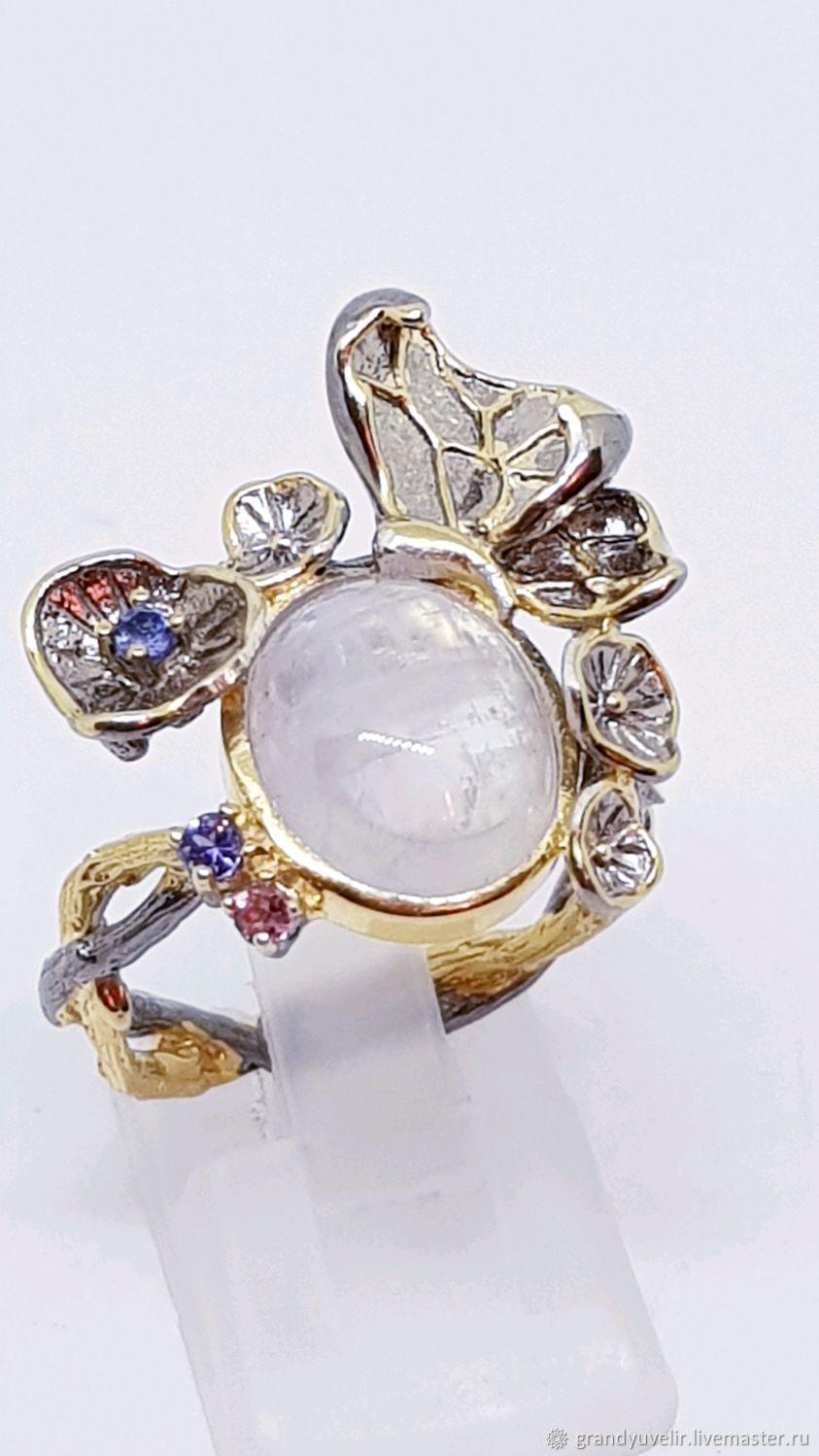 """""""Лунный цветок"""" кольцо с лунным камнем, танзанитом, Кольца, Ангарск,  Фото №1"""