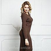 Одежда ручной работы. Ярмарка Мастеров - ручная работа Тёплое вязаное платье коричневого цвета. Handmade.