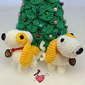 Куклы и игрушки ручной работы. Ярмарка Мастеров - ручная работа Новогодняя желтая собачка (2018). Handmade.