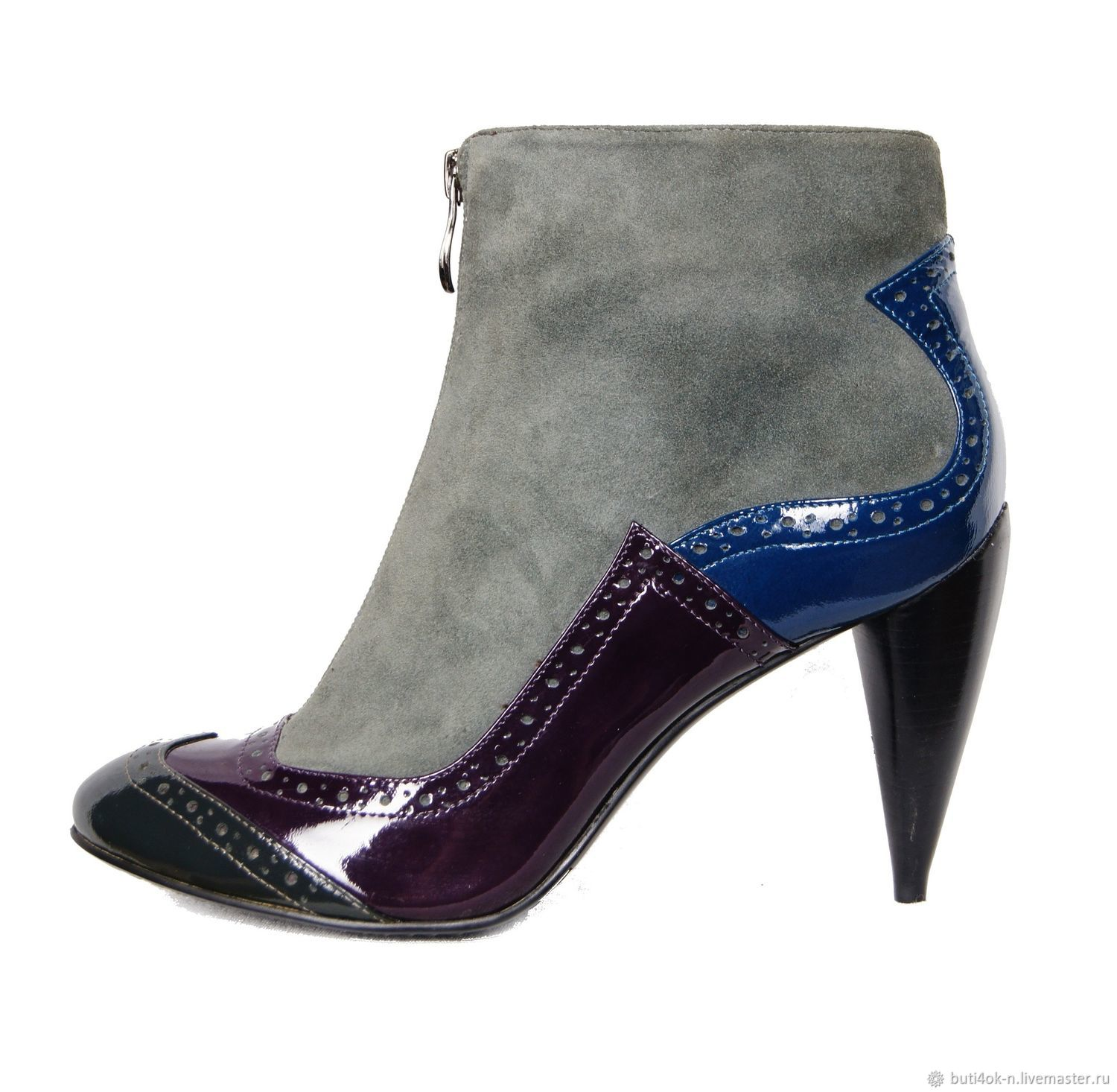 Ankle boots velour with multi-colored panels of patent leather, Ankle boots, Nelidovo,  Фото №1