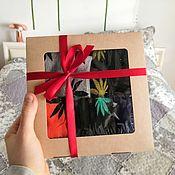 Коробки ручной работы. Ярмарка Мастеров - ручная работа Крафт-коробка с окном - 200х200х40 мм. Handmade.