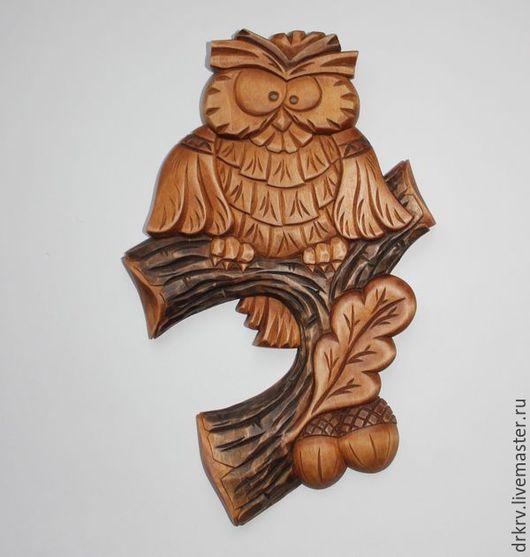 """Животные ручной работы. Ярмарка Мастеров - ручная работа. Купить Панно """"Сова на дубовой ветке"""". Handmade. Сова, сова на ветке"""