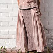 Одежда ручной работы. Ярмарка Мастеров - ручная работа Розовая батистовая юбка на льняной кокетке. Handmade.