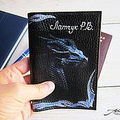 Канцелярские товары handmade. Livemaster - original item Passport cover men`s genuine leather black Dragon. Handmade.