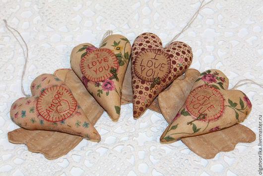 Подарки для влюбленных ручной работы. Ярмарка Мастеров - ручная работа. Купить Кофейные сердечки с крыльями. Handmade. Коричневый, подарок, подвеска