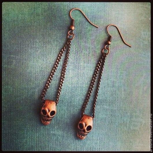 Серьги ручной работы. Ярмарка Мастеров - ручная работа. Купить серьги с черепами. Handmade. Серьги, медь, медный, черепа, металл
