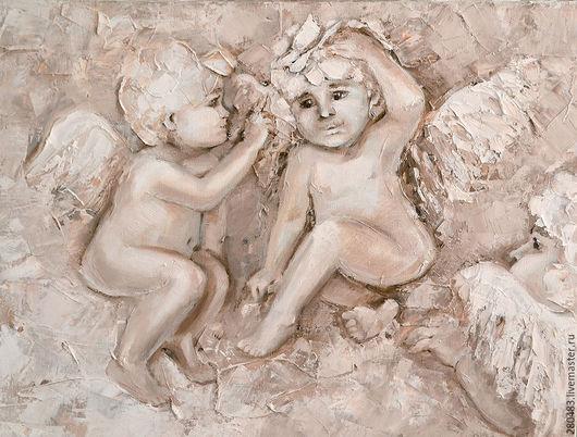 Фантазийные сюжеты ручной работы. Ярмарка Мастеров - ручная работа. Купить Ангелы с бабочкой. Handmade. Ангелы, багет, бежевый