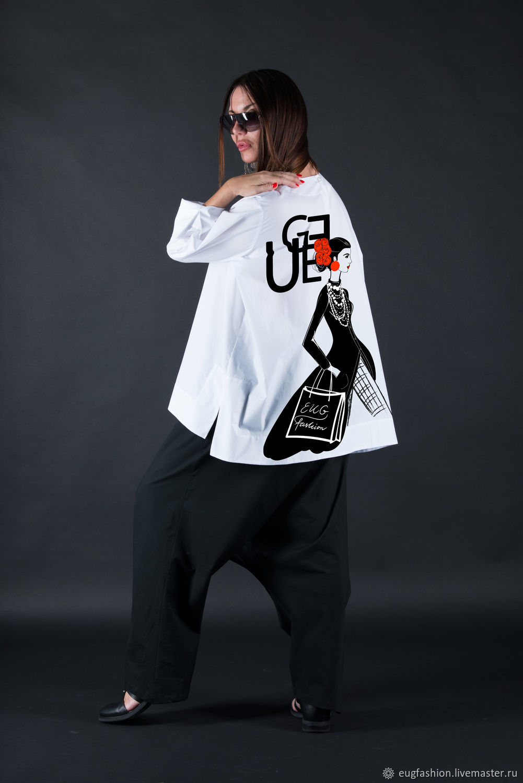 Cotton loose shirt, Elegant print shirt - SH0434CT, Blouses, Sofia,  Фото №1