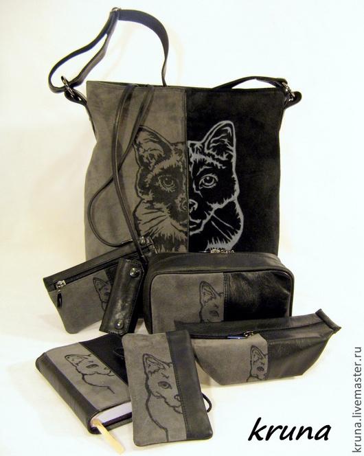 Женские сумки ручной работы. Ярмарка Мастеров - ручная работа. Купить Кожаная сумка с набором косметичек и чехлов  Тайская кошка Комплект. Handmade.