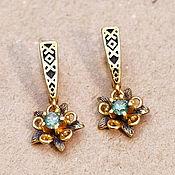 Украшения handmade. Livemaster - original item Forget-me-not Earrings, Green Cubic Zirconia. Gold plated 999 art. 3129902. Handmade.