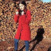 Одежда ручной работы. Ярмарка Мастеров - ручная работа Пальто оверсайз красное. Handmade.