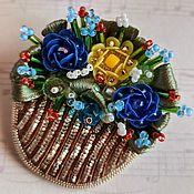 handmade. Livemaster - original item Brooch Basket with flowers. Handmade.