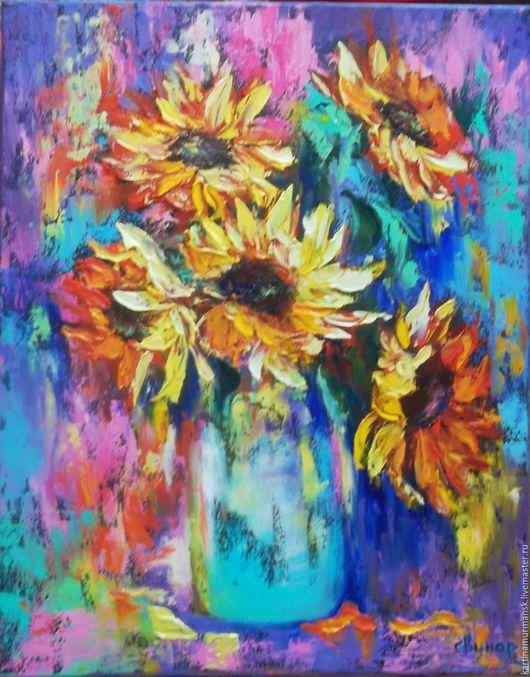 """Картины цветов ручной работы. Ярмарка Мастеров - ручная работа. Купить Картина маслом яркие цветы """"Абстрактные подсолнухи"""". Handmade."""