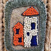 Брошь-булавка ручной работы. Ярмарка Мастеров - ручная работа Броши: Оранжевый Маяк. Handmade.