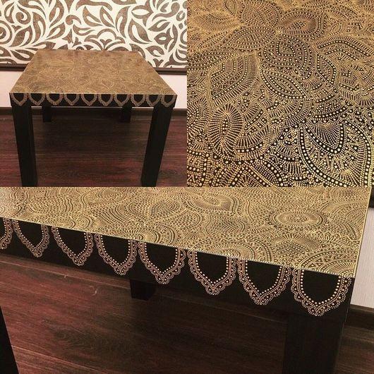 Мебель ручной работы. Ярмарка Мастеров - ручная работа. Купить Придиванный столик. Handmade. Точечная роспись, акриловые краски, пластик