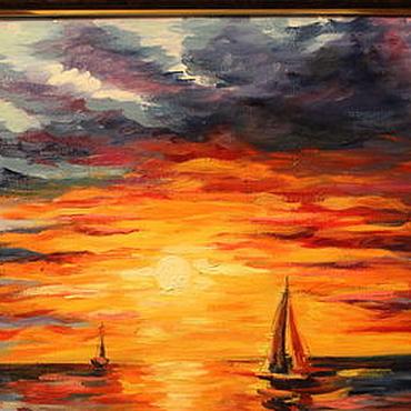 """Картины и панно ручной работы. Ярмарка Мастеров - ручная работа Картина маслом """"Закат"""", море. Handmade."""